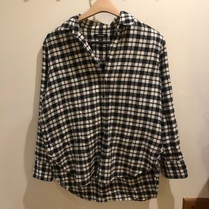 Madewell black and white flannel shirt, S